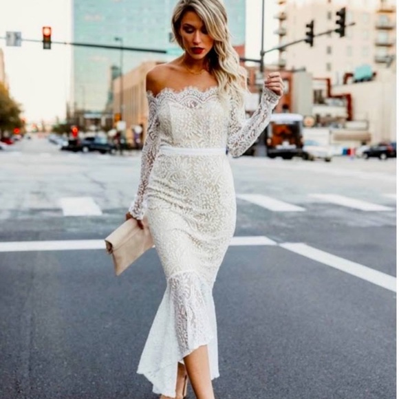 NWT Vici off the shoulder lace mermaid dress